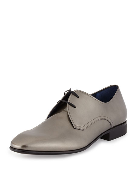 Patent Lace-Up Oxford, Silver