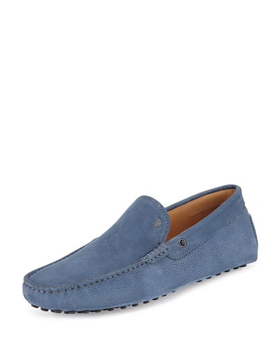 Pebbled Suede Driver, Blue