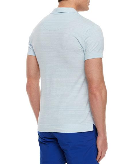 Felix Johnny-Collar Polo Shirt, Sky Blue
