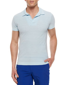 Felix Johnny-Collar Polo Shirt, Sky Blue