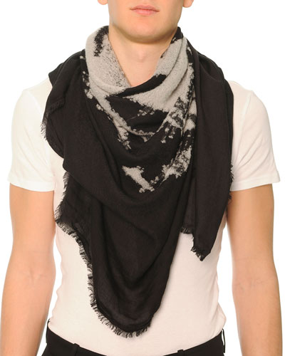 Burnout Skull-Printed Scarf
