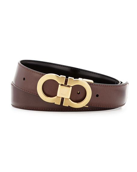 Reversible Leather Belt Boxed Gift Set, Black/Brown