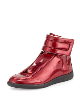 Future Leather High-Top Sneaker, Metallic Red
