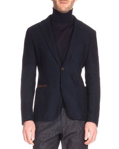 Knit Blazer with Leather Trim, Navy