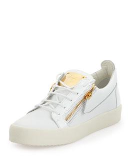 Men's Croc-Embossed Patent Low-Top Sneaker, Black