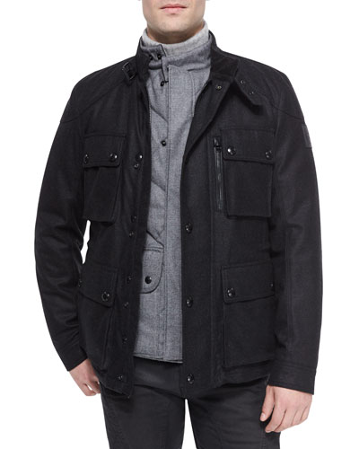 Trialmaster Cashmere-Blend Jacket, Charcoal