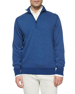 Roadster Half-Zip Cashmere Sweater, Light Blue