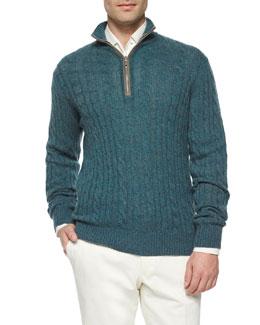 Mezzocollo Cable-Knit Cashmere Pullover, Teal