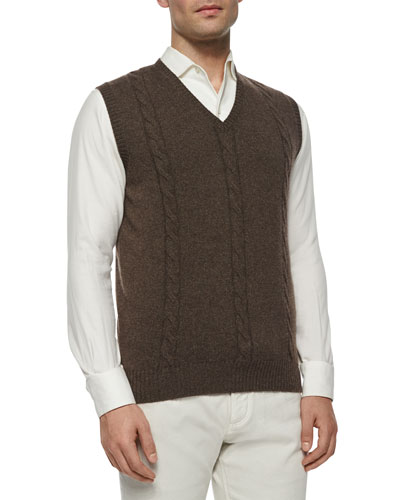 Baby Cashmere Cable-Knit Vest, Taupe