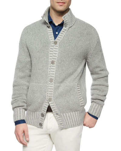 Baby Cashmere Button-Down Cardigan, Light Gray