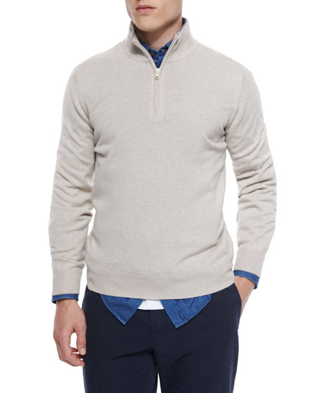 Brunello Cucinelli Cashmere Quarter-Zip Pullover Sweater, Light
