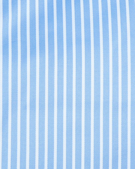 Striped Barrel-Cuff Dress Shirt, Blue