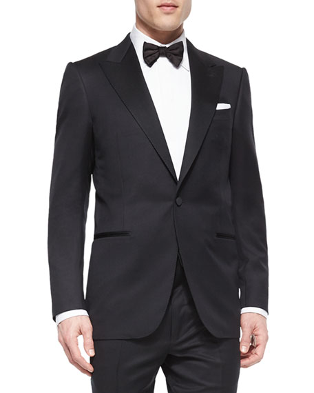 One-Button Wool Tuxedo Jacket, Black