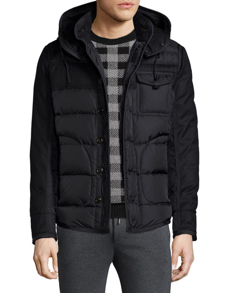 Ryan Nylon & Wool Hooded Puffer Jacket, Black