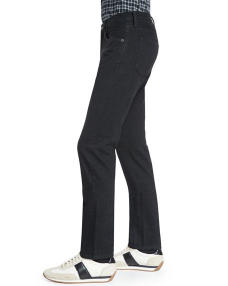 Regular-Fit Resin-Coated Selvedge Jeans, Black