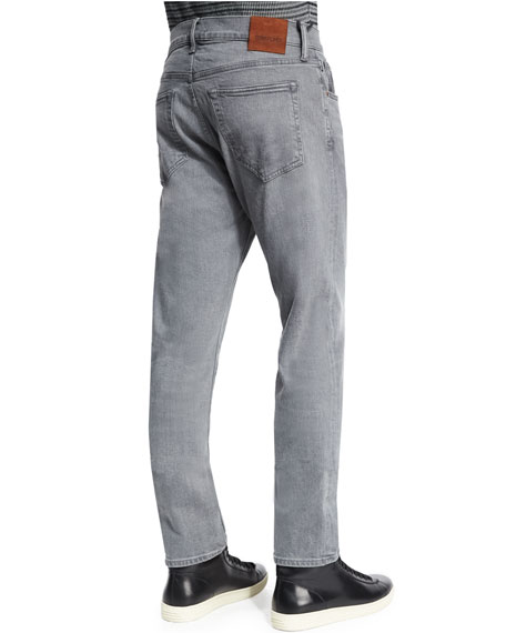 Regular-Fit Stretch-Selvedge Denim Jeans, Light Gray