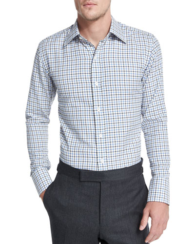 Tattersall Check Dress Shirt, White/Blue