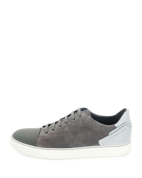 Low-Top Sneaker with Contrast Heel, Blue/Light Gray