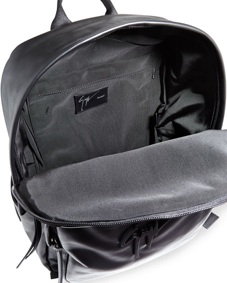 Men's Tonal-Logo Leather Backpack