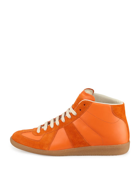 Replica Mid-Top Leather Sneaker, Orange