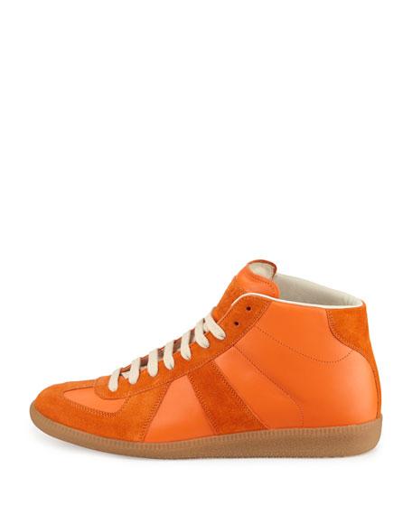 Replica Mid-Top Leather Sneaker, Orange