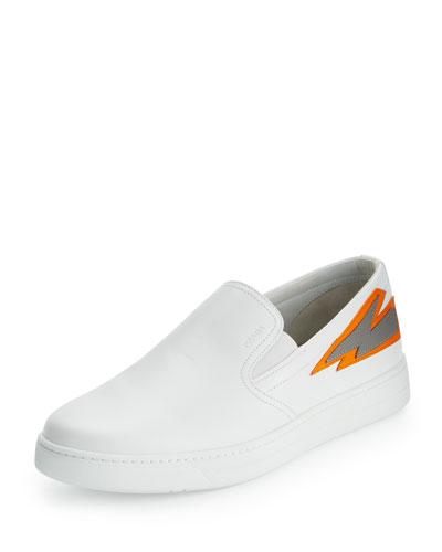 Lightning-Bolt Leather Slip-On Sneaker, White