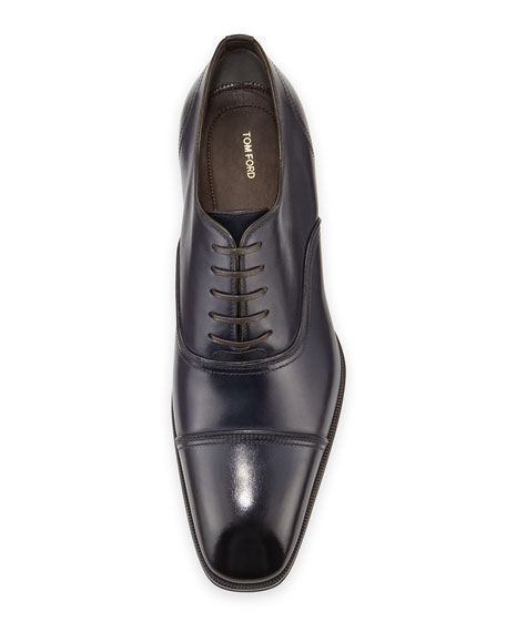 Gianni Cap-Toe Leather Shoe, Blue
