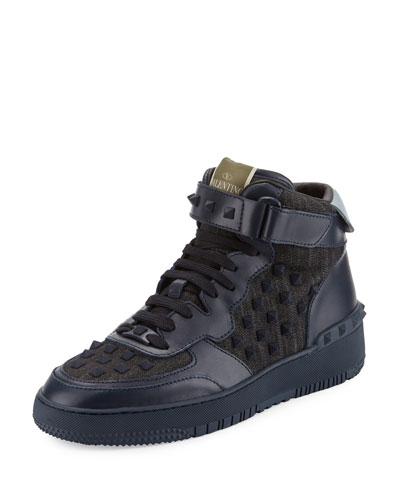 Rock Be Studded High-Top Sneaker, Blue