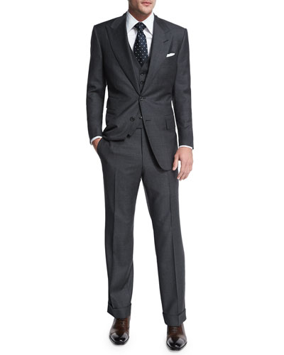 Windsor Base Sharkskin Three-Piece Suit  Charcoal