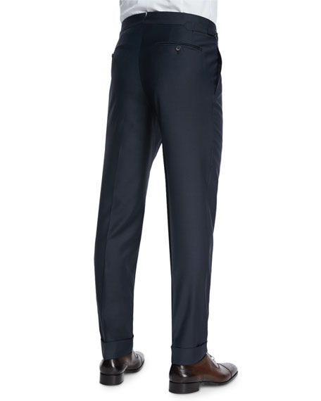 O'Connor Base Flat-Front Sharkskin Trousers, Navy
