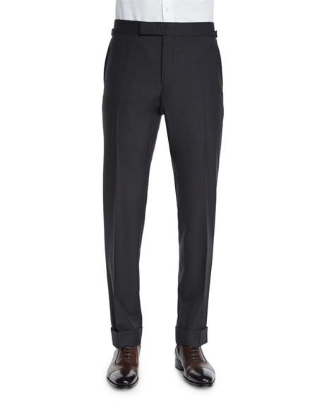 O'Connor Base Flat-Front Sharkskin Trousers, Charcoal