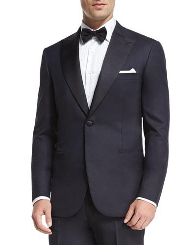 Satin Peak-Lapel Tuxedo, Navy