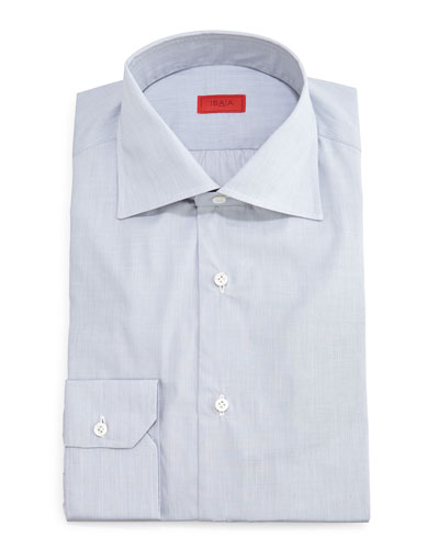 Solid Button-Down Dress Shirt, Light Gray