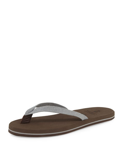 Leather-Trim Canvas Thong Sandal, Gray