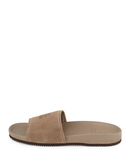 Perforated Suede Slide Sandal, Beige