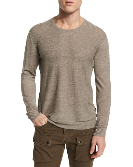 Kester Ribbed-Sleeve Crewneck Linen Sweater, Chino Melange