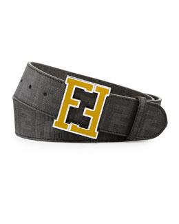 Men's Zucca College Belt, Brown/Gold