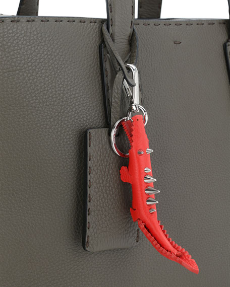 Leather Gator Charm Key Fob