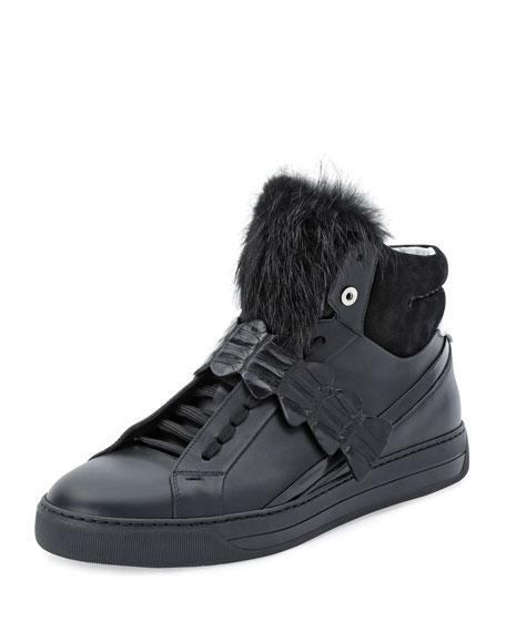 Croc-Strap Leather High-Top Sneaker, Black