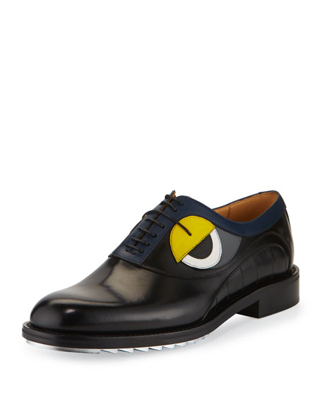 Fendi Monster-Eye Leather Silver-Bottom Lace-Up Derby Shoe, Black