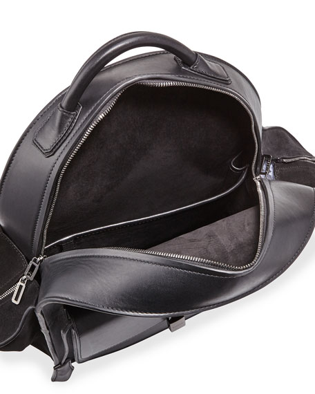Aero Men's Leather Backpack, Black