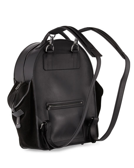 Aero Men's Leather Backpack, Black