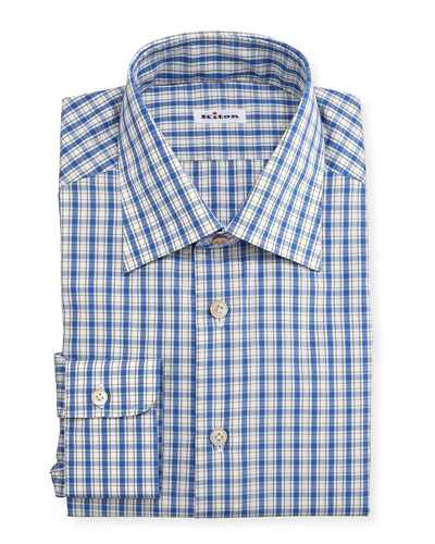 Box-Plaid Long-Sleeve Dress Shirt, Blue