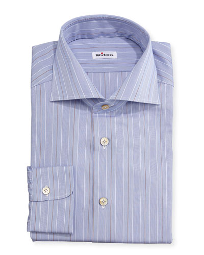 Alternating Fine-Stripe Woven Dress Shirt, Blue/Rust