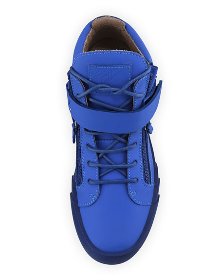 Men's Matte Leather Zip & Buckle Mid-Top Sneakers