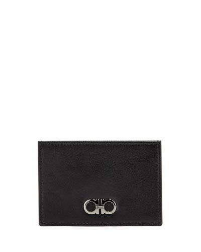 Double-Gancini Leather Flat Card Case, Black