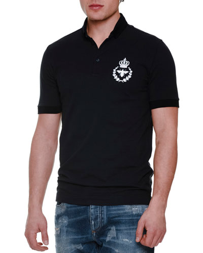 Short-Sleeve Polo Shirt with Crown/Bee Patch, Navy