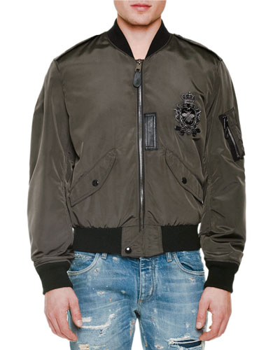 Embroidered-Patch Zip-Up Bomber Jacket, Military Green