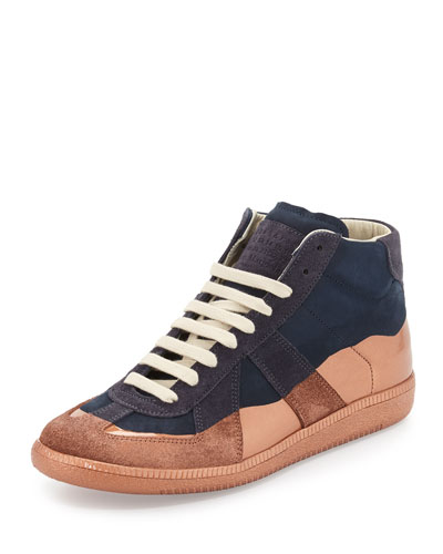 Replica Multicolored Leather High-Top Sneaker, Navy/Rose