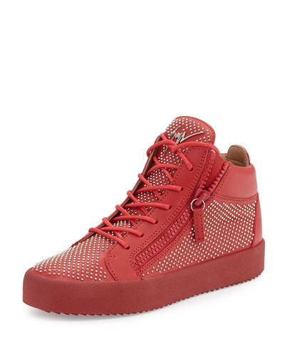Men's Studded Leather Mid-Top Sneaker, Red